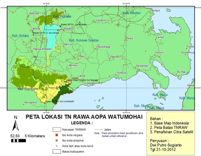 Peta aksesibilitas ke TN Rawa Aopa Watumohai