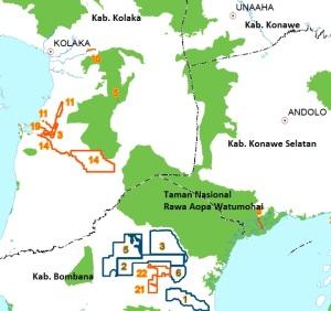Peta ijin pinjam pakai sekitar Rawa Aopa Watumohai