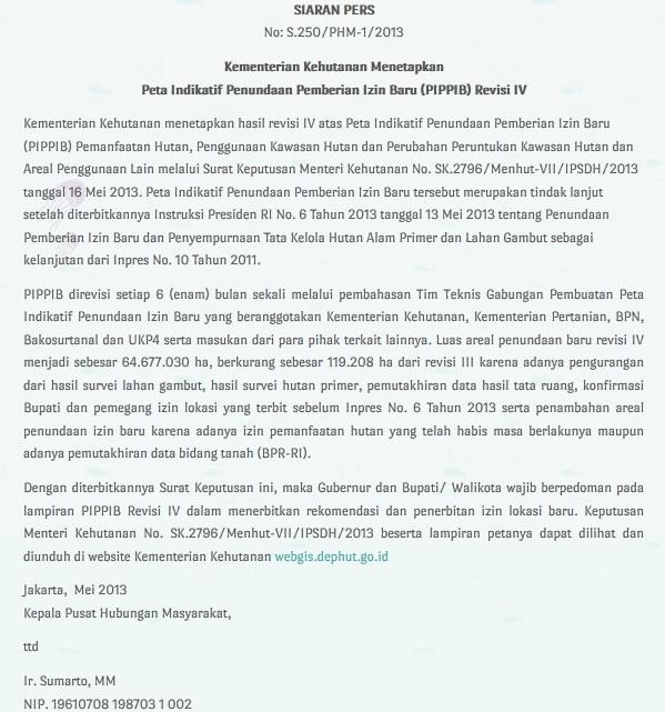 Siaran pers tentang revisi IV