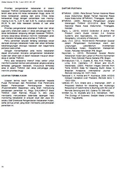 jurnal bakosurtanal kebakaran taman nasional rawa aopa 9