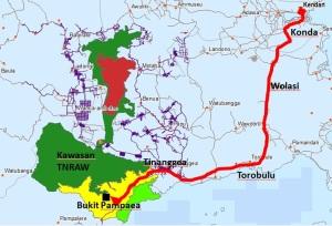 Peta wisata menuju Bukit Pampaea