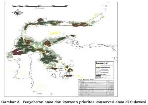Peta penyebaran anoa dan kawasan prioritas konservasi anoa